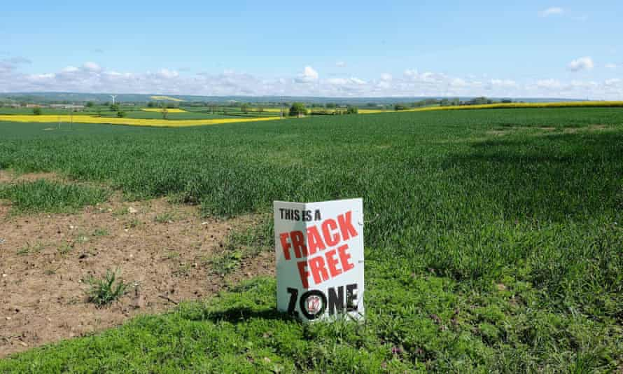 An anti-fracking sign is placed in a field near the North Yorkshire town of Malton.