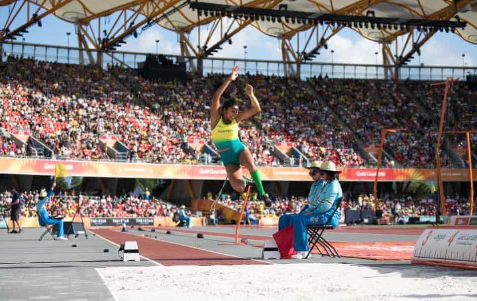 The womens long jump finals. Para athletes competed for a medal at Carrara Stadium the Gold Coast. Sunday. April 8th. 2018