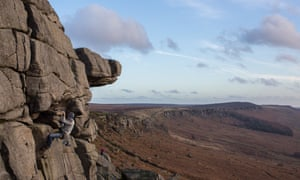 Stanage Edge in the Peak District: a challenge for the novel's climbers.