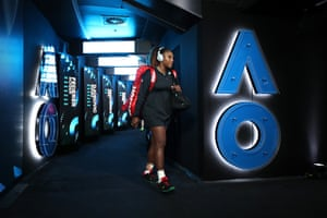 Serena Williams emerges from the locker room