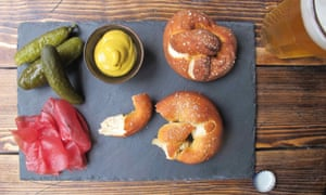 The Perfect Pretzels … served with a large cold beer, cured meat, pickles and mustard.