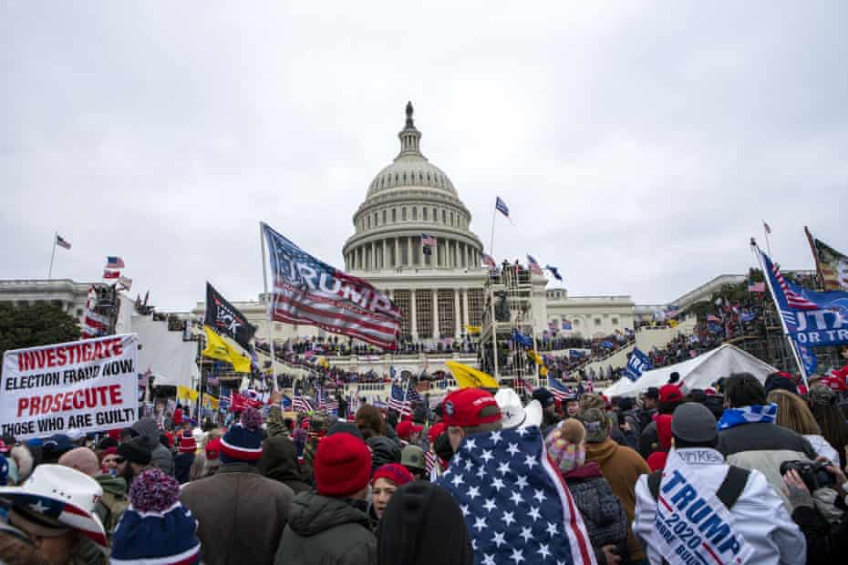 Supporters of Donald Trump gather at the US Capitol on Wednesday.