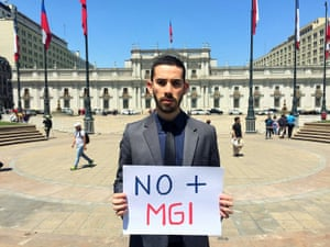 Camilo Godoy Peña after giving letter on intersex situation to President Bachelet