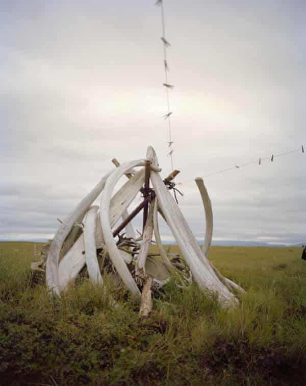 'The land is being swallowed up so fast' … whalebones doubling as a clothes hanger at the Quinhagak Archaeological Project in Alaska, visited by Kathleen Jamie.
