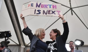 """Ireland Votes In Favour of Law Reform In Abortion ReferendumDUBLIN, IRELAND - MAY 26: Sinn Fein leader Mary Lou McDonald (R) and deputy leader Michelle O'Neill (L) hold up a placard which reads 'The North is Next' as the result of the Irish referendum on the 8th amendment concerning the country's abortion laws is declared at Dublin Castle on May 26, 2018 in Dublin, Ireland. Ireland has voted in favour of overturning the abortion ban by 66.4% to 33.6%, which is a """"resounding"""" victory for the yes campaign. (Photo by Charles McQuillan/Getty Images)"""