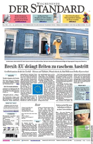 Der Standard - Austria newspaper front page 25 June 2016 European Referendum David Cameron resignation
