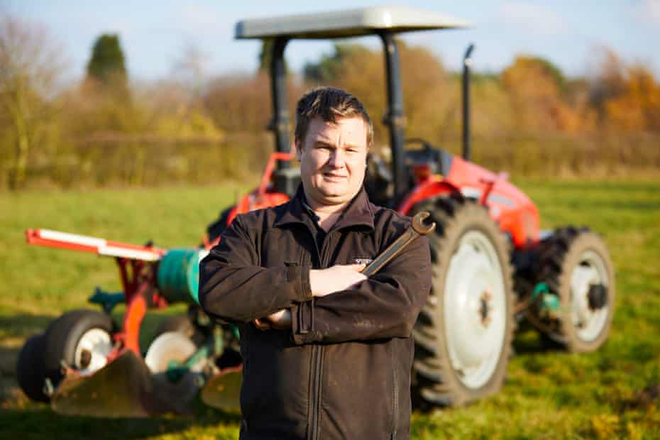 Ashley Boyles, who competed for England at the 2018 World Ploughing Championships, at home in Lincolnshire.