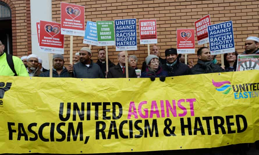 Donald Trump's comments on British Muslims prompted a show of solidarity outside an east London mosque.