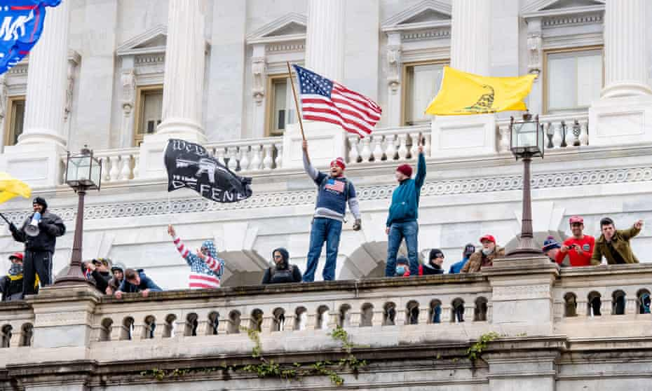 Trump supporters at the Capitol building on 6 January.