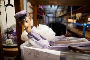 Puppets in storage in the backstage area of the Little Angel theatre
