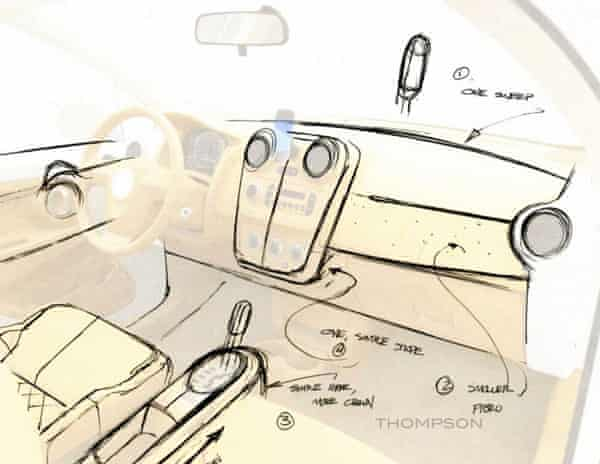 On the flight back from his meeting with Steve Jobs, designer Bryan Thompson redesigned the interior of the V-Vehicle to match Jobs' suggestions. Note how Thompson looked to reduce the number of lines on the dashboard.