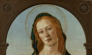 A section of the painting of Madonna and child by Botticelli
