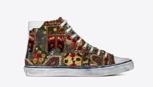 Embroidered soles Top of our lust list are these men's embroidered vintage patchwork hi-tops, inspired by Moroccan carpets and Yves Saint Laurent's love of Marrakech where he would design his haute couture collections. £605, Saint Laurent by Anthony Vaccarello, ysl.com