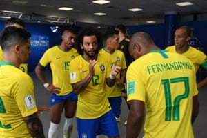 Marcelo speaks in the tunnel ahead of the second half.