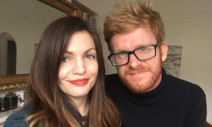 Kathryn with her fiance, Adam, in London, April 2020.