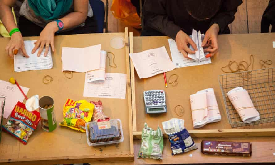 A vote count table filled with sweets, crips and biscuits as well as a calculator. plus some ballots.