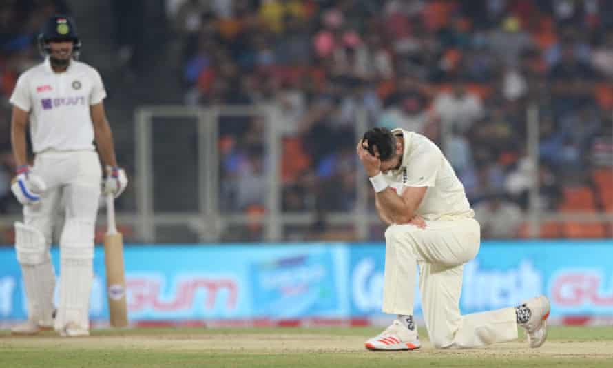 James Anderson reacts during England's third Test defeat by India in Ahmedabad.