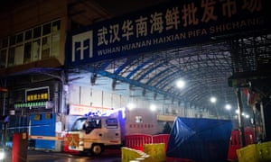 Wuhan hygiene emergency response team leave the closed Huanan market in January