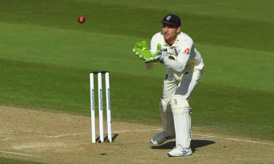 England's Jos Buttler collects a throw from a teammate during the First Test defeat by West Indies at the Ageas Bowl.