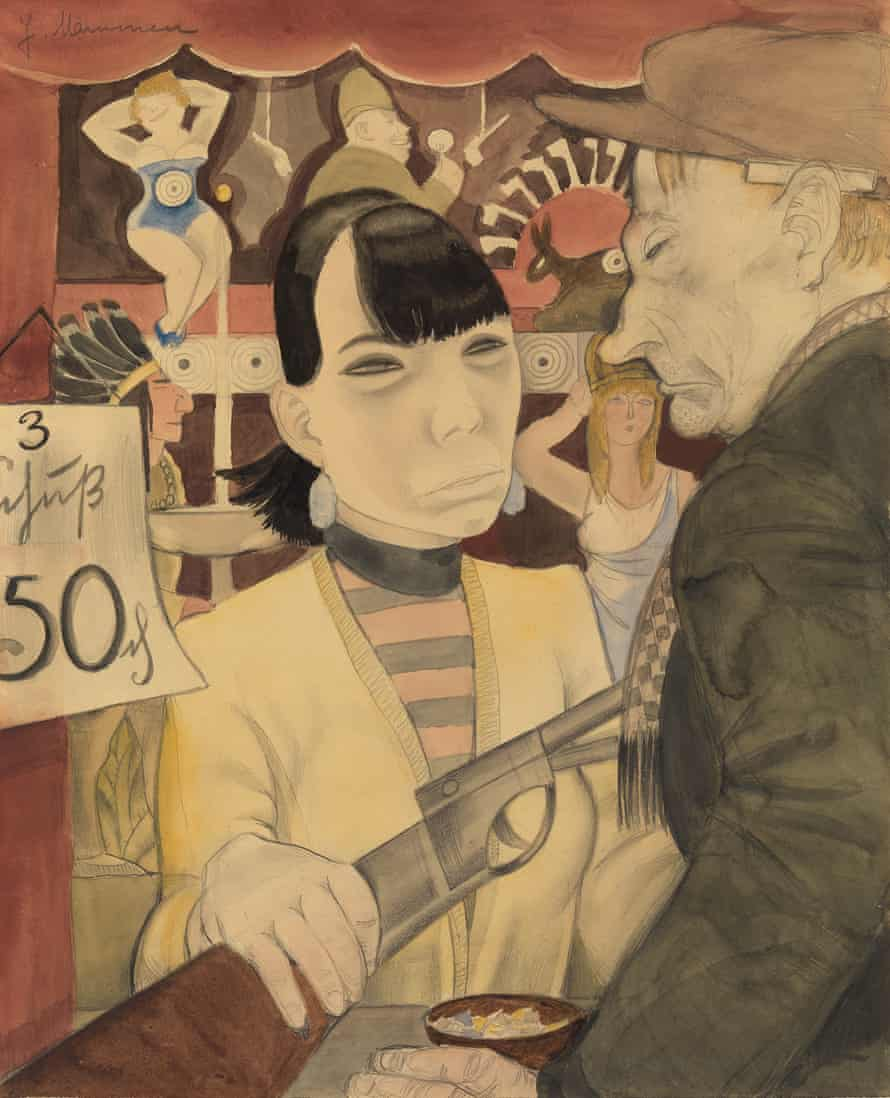 At the Shooting Gallery by Jeanne Mammen (1929).