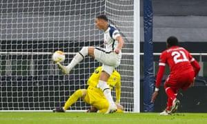 Carlos Vinicius of Tottenham Hotspur scores the opening goal.