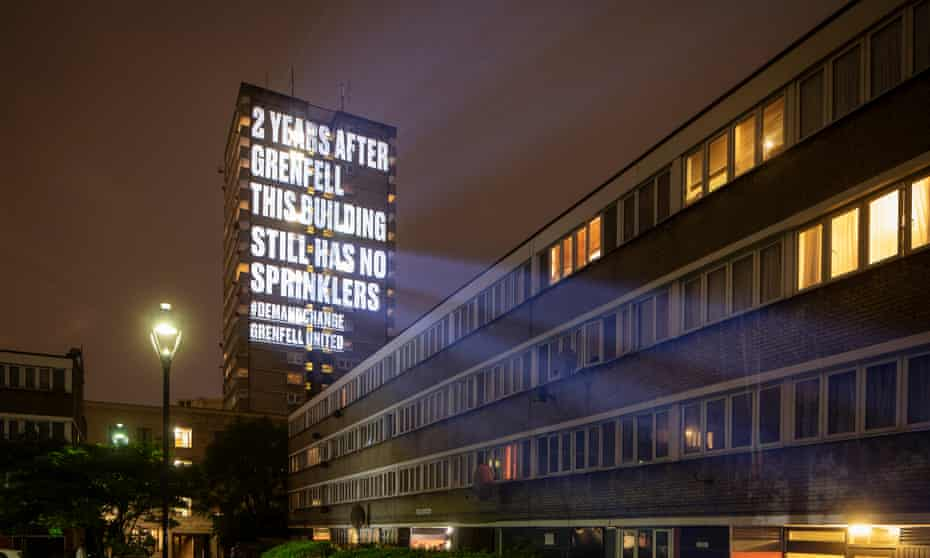 A projection on to Frinstead House in west London marks the second anniversary of the Grenfell Tower fire.