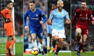 Ederson, Eden Hazard, Sergio Aguero and Andy Robertson