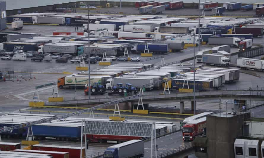 Lorries at the port of Dover in February
