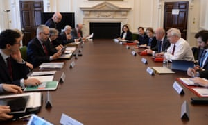 David Davis (right, in the white shirt) and Damian Green, to his right, with Scottish and Welsh ministers and Northern Ireland's top civil servant at a meeting of the joint ministerial council on Brexit in the Cabinet Office.
