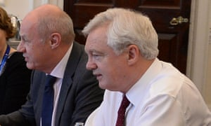 Damian Green and David Davis during a meeting in the Cabinet Office.