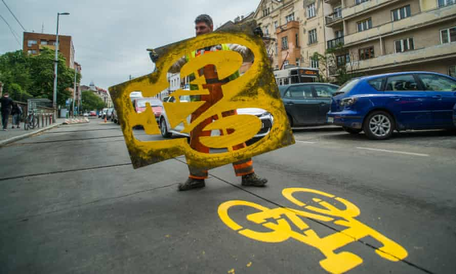 Budapest has introduced 12 miles of temporary bike lanes