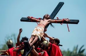 A Good Friday re-enactment of the crucifixion of Christ in San Fernando, Philippines