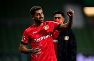 Goalscorer Kerem Demirbay celebrates at full-time.