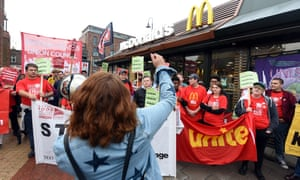 Young McDonald's workers strike at the Crayford branch in Kent.
