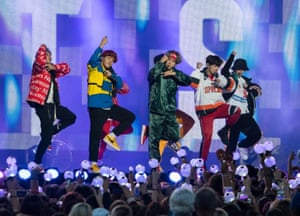 BTS performing on Jimmy Kimmel Live in Los Angeles