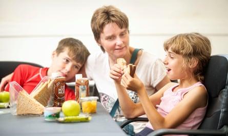 Jane Watson with her children, Luke and Ruth, in Bristol
