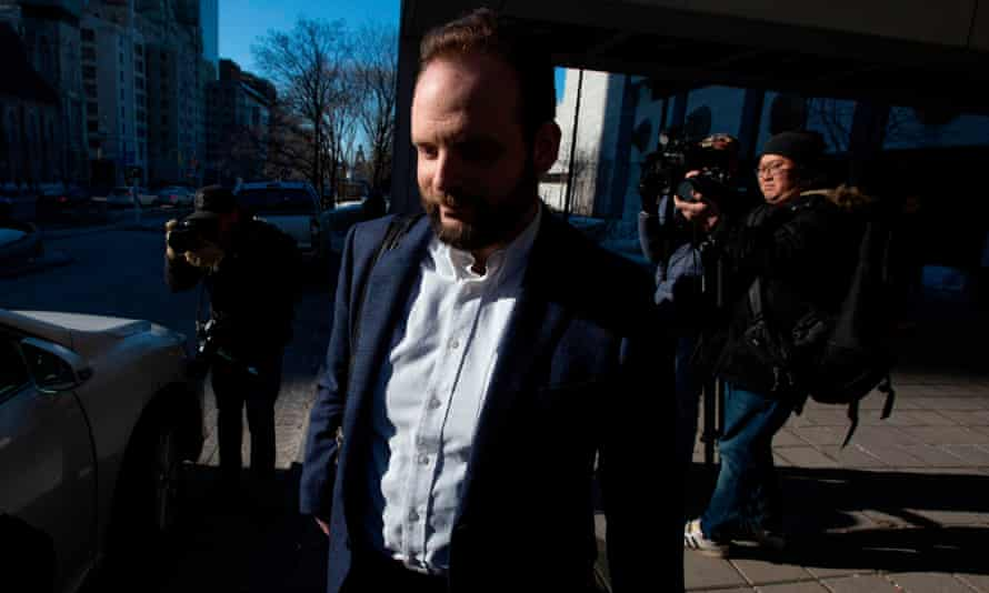 Joshua Boyle leaves a courthouse in Ottawa, Ontario, Canada, on 27 March. FILES-CANADA-COURT-ASSAULT-US-AFGHANISTAN(FILES) In this file photo taken on March 27, 2019, Joshua Boyle leaves the Ottawa court house in Ottawa, Ontario. - The trial of a Canadian man once held hostage with his American wife in Afghanistan and accused of assaulting her following their release came to a close on October 3, 2019, with the judge reserving his decision until December.Joshua Boyle, 36, was arrested and charged with assault, sexual assault and forcible confinement at the end of 2017 just two months after he and his wife Caitlan Coleman returned to Canada after their five-year hostage ordeal.He has pleaded not guilty. (Photo by Lars Hagberg / AFP) (Photo by LARS HAGBERG/AFP via Getty Images)