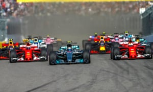 Mercedes' Valtteri Bottas overtakes Sebastian Vettel who was on pole, and Kimi Raikkonen in the other Ferrari to take the lead on lap one in Sochi