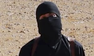 Masked man believed to be Mohammed Emwazi in a frame from an Islamic State video.