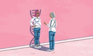 Illustration of two women facing each other, dressed identically in blue jeans and a white t-shirt, the older woman explaining something to the younger pregnant woman, who has her hand on her hip