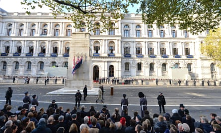 Crowds gather for the remembrance service at the Cenotaph memorial in Whitehall, central London, on Sunday