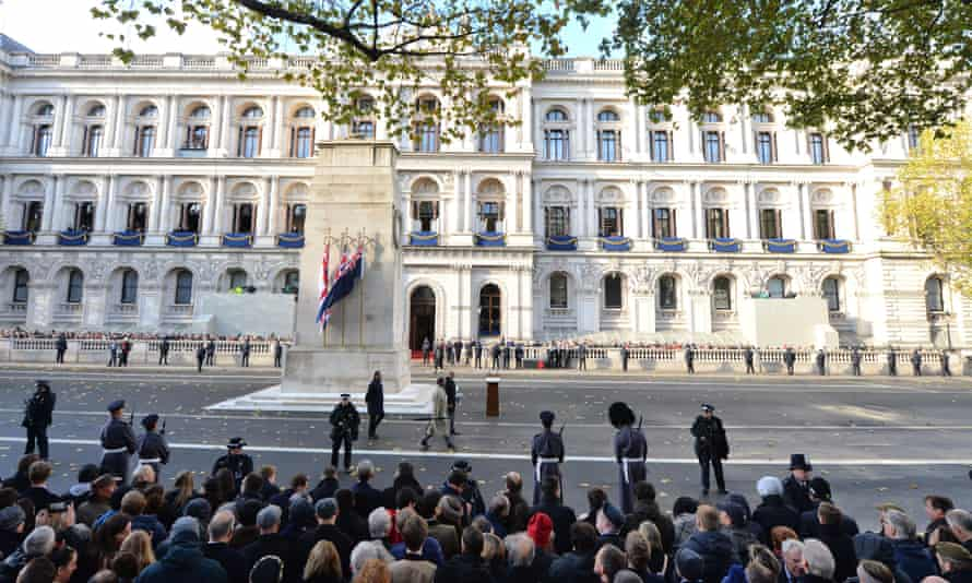 Crowds gather at the Cenotaph for Remembrance Sunday