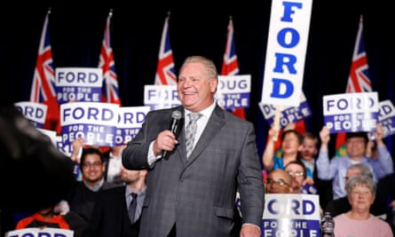 Doug Ford speaks during a pre-election rally in Ottawa, Ontario on 16 April 2018.