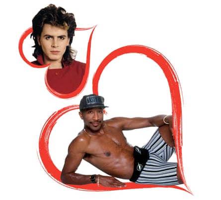 Composite of Duran Duran's John Taylor and Mr Motivator in a red heart, for a piece about teenage crushes