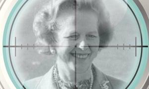 Margaret Thatcher in a gun sight