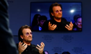 Bono, U2 singer and co-founder of the One campaign, speaks during the World Economic Forum (WEF) annual meeting in Davos today.