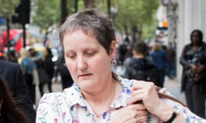 Diane Ward emerges from an employment tribunal at Victory House in London.