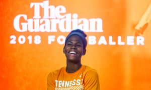 """Women's Footballer of the Year Khadija """"Bunny"""" Shaw laughs during an interview at the University of Tennessee in Knoxville."""