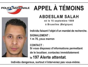 Belgian-born Salah Abdeslam pictured on an appeal notice released by French authorities.