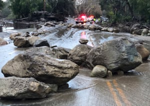 Rocks block Hot Springs Road in Montecito
